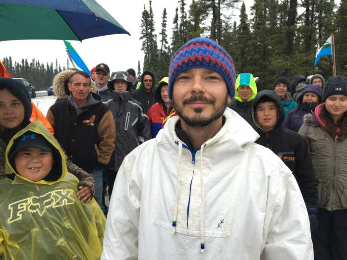 Hunger striker, Billy Gauthier, and supporters rally at the Make Muskrat Right camp.