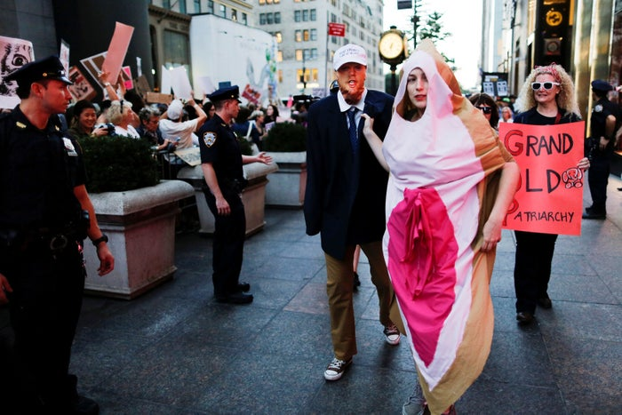 A woman dressed as a vagina at the Pussy Power at Trump Tower rally on Oct. 19.