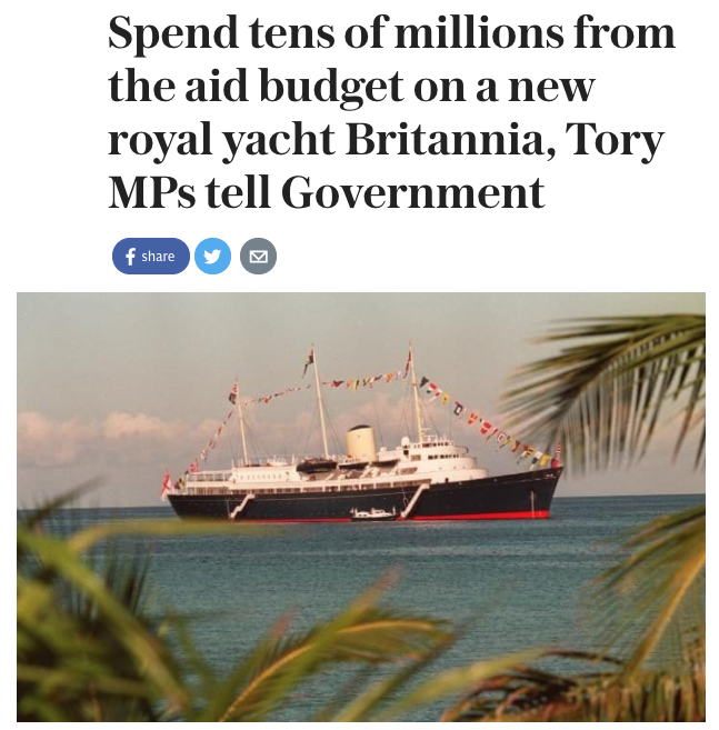 "Sebastian (Germany): ""Maybe they also can exhume Francis Drake to restore the empire's power on the sea. Has everyone lost their minds?""Alfredo (Spain): ""So that's where the £350 million will go. On a fancy yacht. Classy, Britain.""Sonia (India): ""If you do this, it should stay away from India. It was embarrassing when you left the last time."" Victor (Russia): ""Have you guys heard about digital communication? Email works just fine, you know.""Mark (Australia): ""+1 India. On several levels foreigners in boats do not mix with Australia."""
