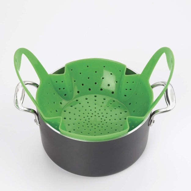 A silicone steaming basket that's also dishwasher safe.