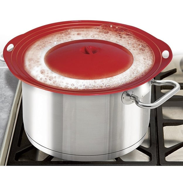 A silicone lid that keeps your pots from boiling over and making a mess.