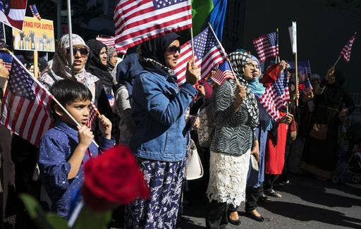 Muslim Americans in a line at the Muslim Day Parade in September 2016, in New York.
