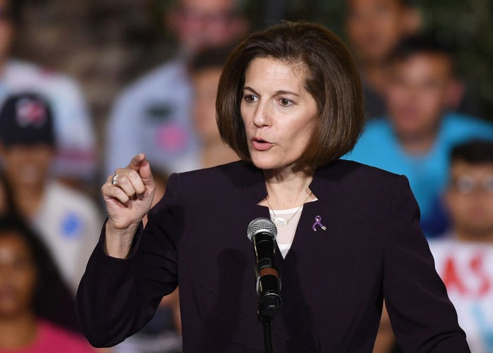 Senate candidate Catherine Cortez Masto speaks during a campaign rally for Democratic presidential nominee Hillary Clinton.