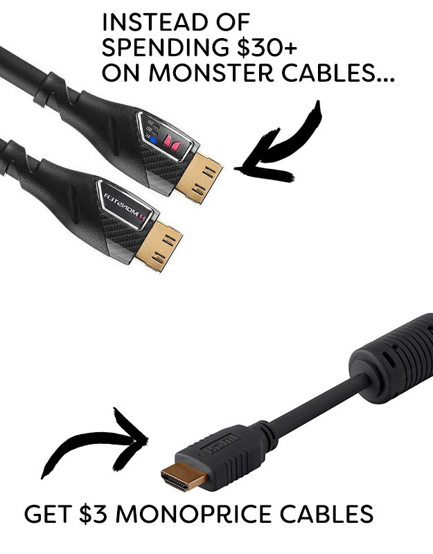 Instead of cables from Monster, try Monoprice.