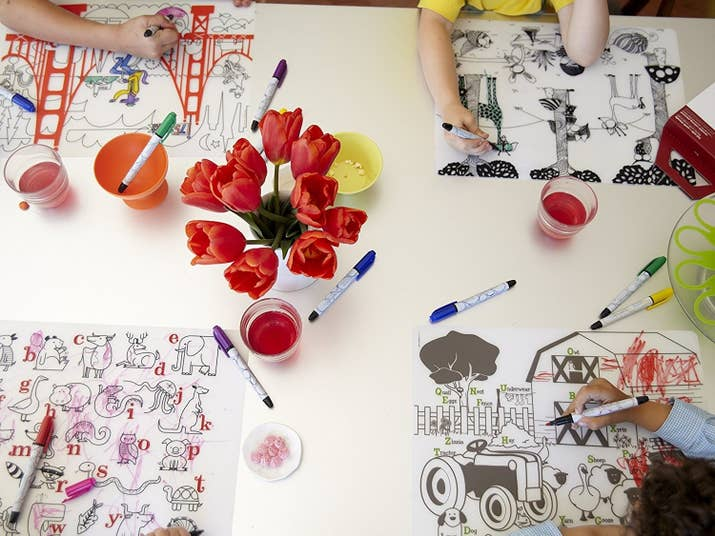 One Up The Butcher Paper Coloring Tablecloth With An FDA Approved Reusable Placemat