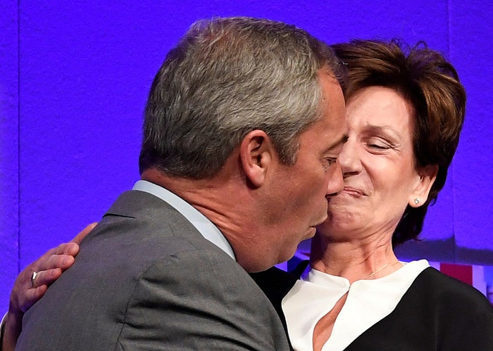 Nigel Farage congratulates short-lived leader Diane James at the party's annual conference in September.
