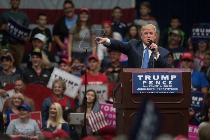 Trump in Johnstown, Pennsylvania, on Friday.