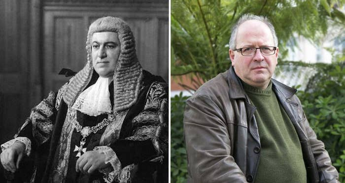 Sir David Maxwell-Fyfe (left) in his lord chancellor's robes in 1952, and his grandson, Tom Blackmore, in October 2016.