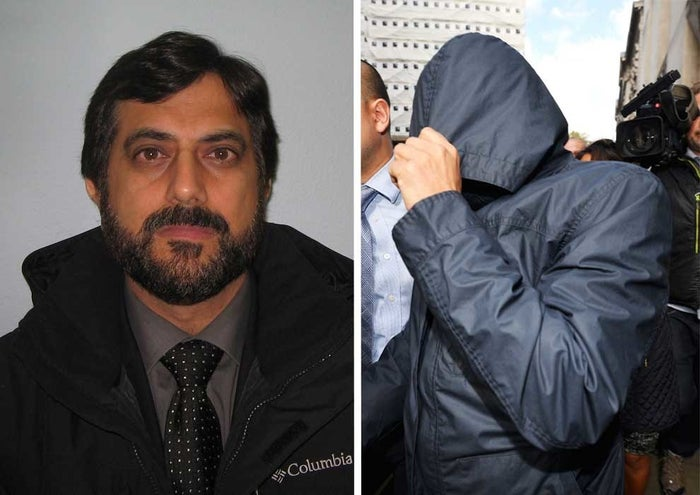 Mazher Mahmood's police mugshot and (right) leaving court during his trial in October 2016