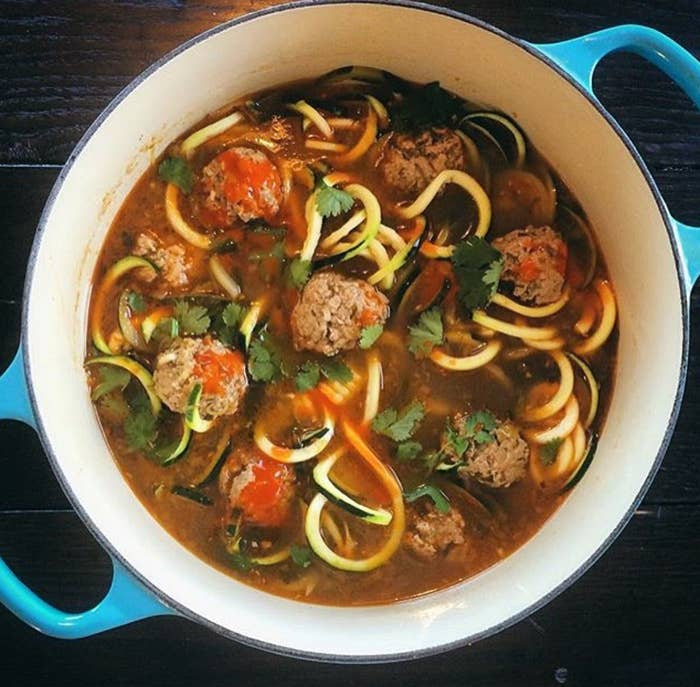 Soup is the ultimate chilly day comfort food. Zoodles add a little more texture, and they're the perfect al dente when you simmer them for just a couple of minutes at the end.Recipe: Buffalo-Style Pork Meatball Zoodle Soup
