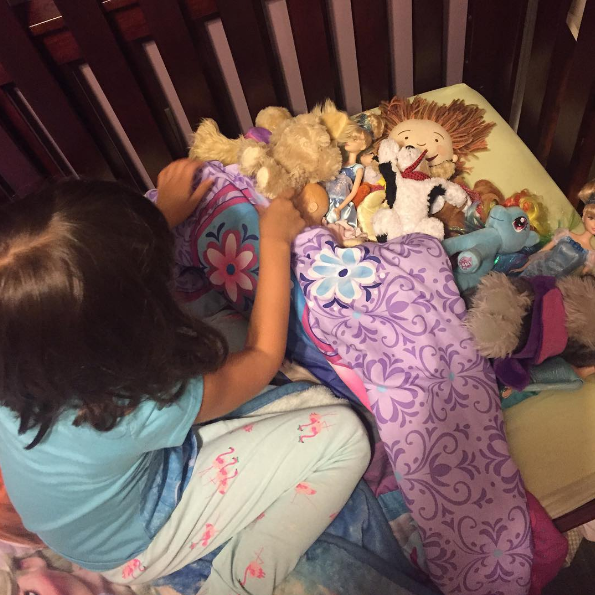 They refuse to go to bed until ALL of their stuffed animals and toys have been tucked in for the night.