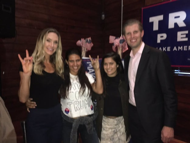 But happen it did, and the sisters snapped this photo with the Trumps.