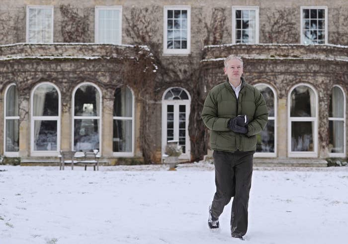 Julian Assange in the grounds of Ellingham Hall in December 2010.