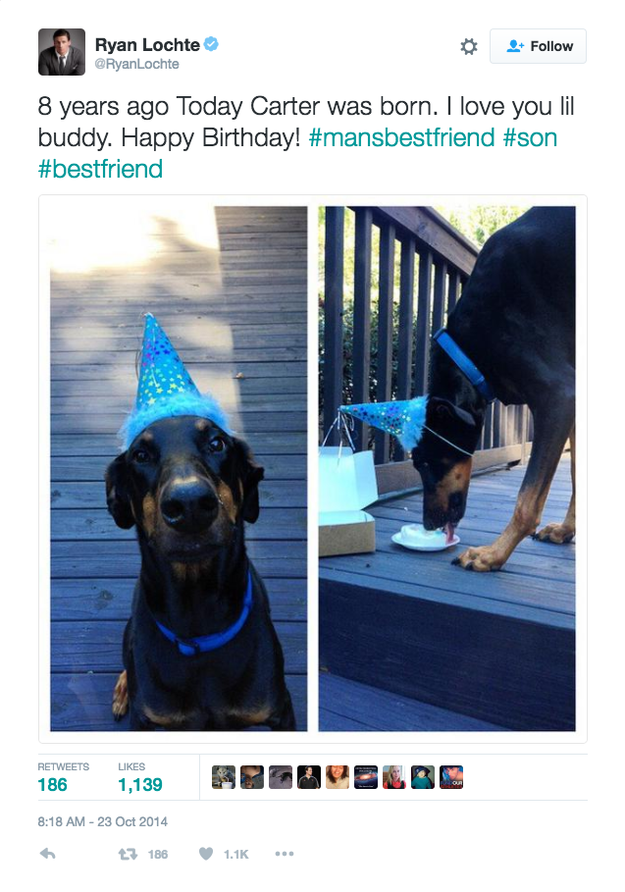 Here's Carter in 2014 wearing a party hat, eating cake, and turning 8-years-old.