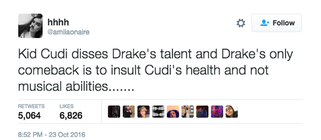 """Upon hearing """"Two Birds, One Stone,"""" many took to Twitter to call out Drake for allegedly dissing Cudi."""