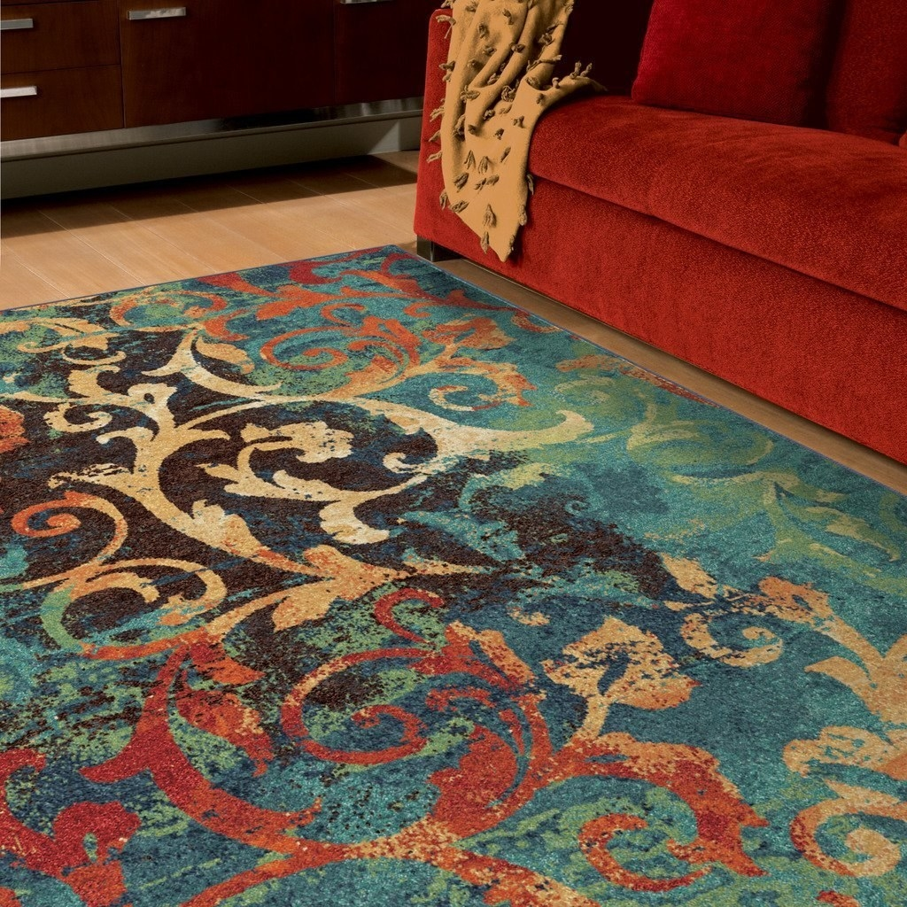 Give A Family Room Some Major Personality With A Watercolor Scroll Rug.