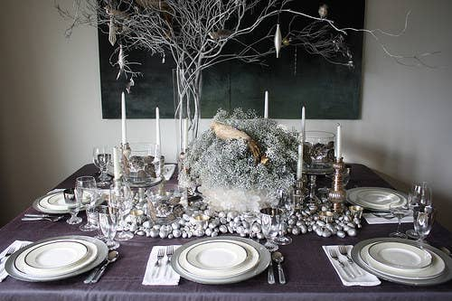Use silver spray-paint to make everyday objects immediately festive. More ideas here.