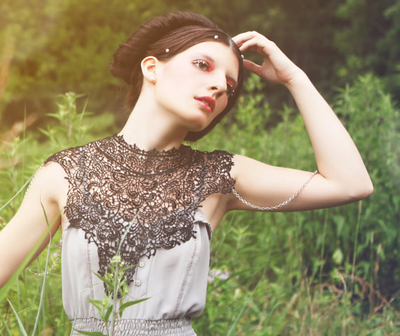 Steampunk Black Lace Collar