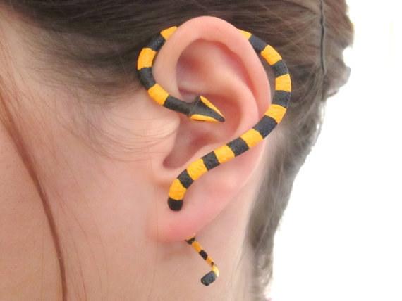Banded Krait Snake Ear Cuff