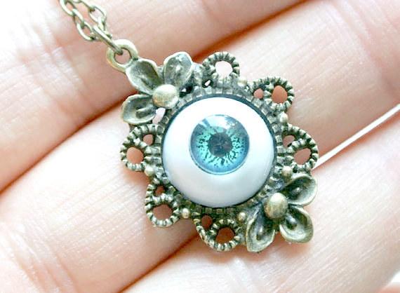 Antique Green Eyeball Necklace