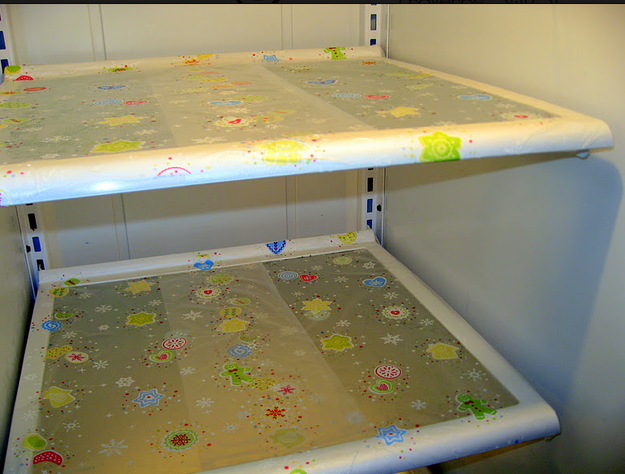 Or, cover your shelves with Press 'n' Seal wrap, then anytime there's a spill, toss and replace the wrap.