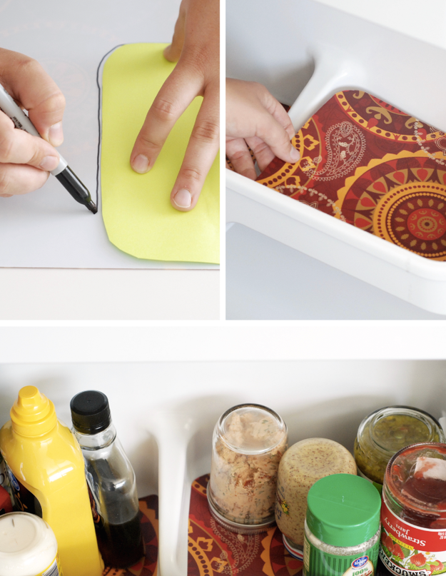 Line every drawer and shelf with washable placemats.