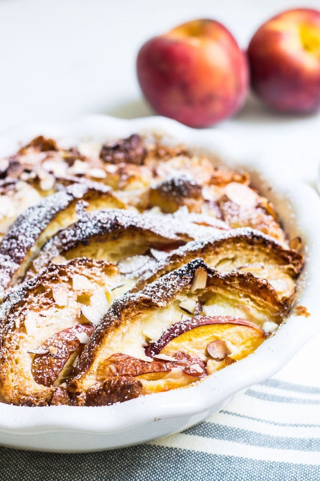 Croissant Bread Pudding With Peaches