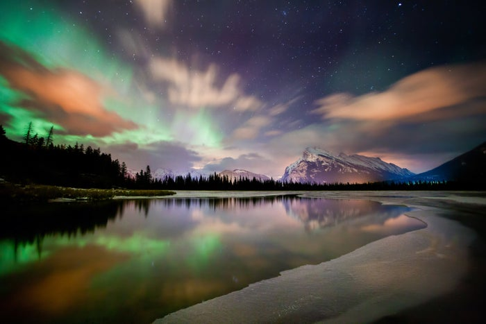 From September through mid-May, if you're lucky you may spot the aurora borealis on a dark night in Banff National Park. At this time of year, you've also got a good shot of spotting the northern lights in Wood Buffalo and Jasper National Parks — two of the world's largest dark sky preserves which are ideal for your own personal northern lights show!