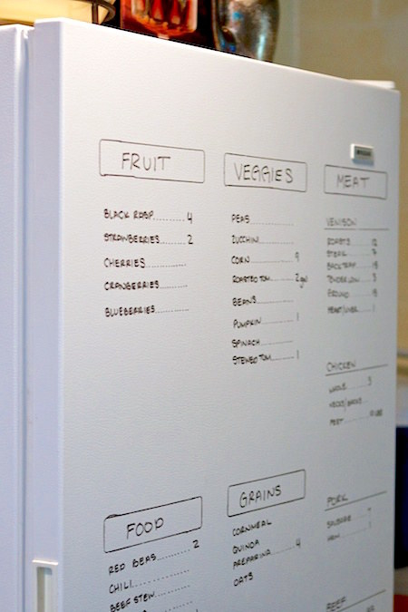If you still find yourself forgetting what you have on hand, update a dry-erase inventory on the outside of your fridge at the beginning of every week.