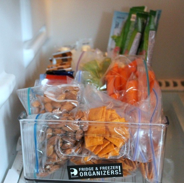 Turn another one of the bins into a healthy snack bin, maybe even one specifically for the kids.