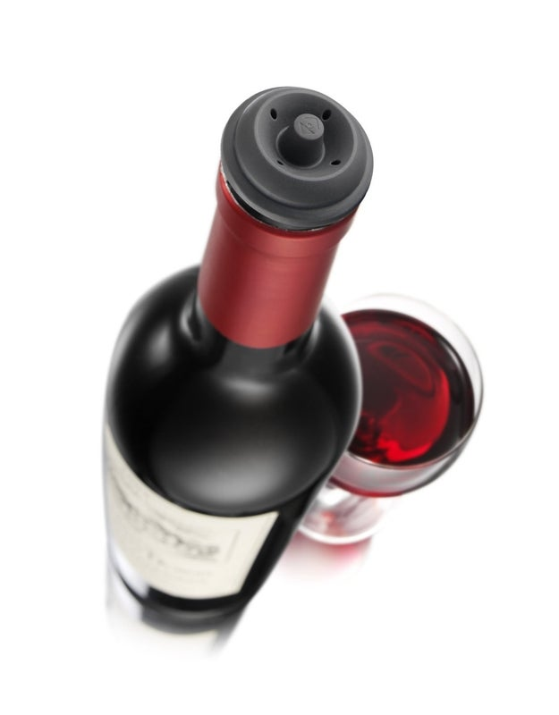 If you have leftover wine (which SOUNDS like an impossibility, but hey, sometimes it happens), seal it up so you can rest it on its side without worrying about it leaking.
