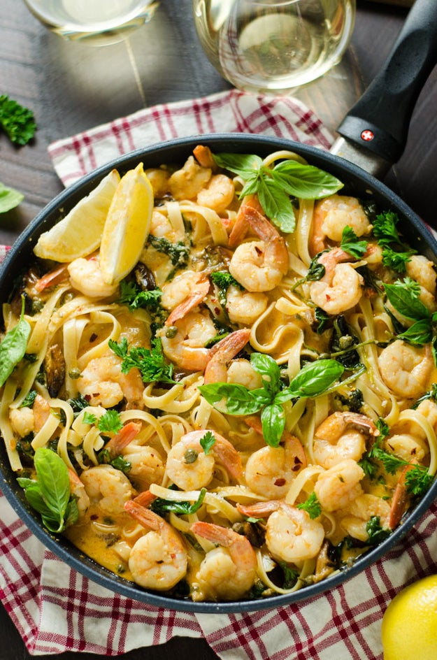 Creamy Lemon Butter Shrimp Pasta With Spinach and Caramelized Garlic