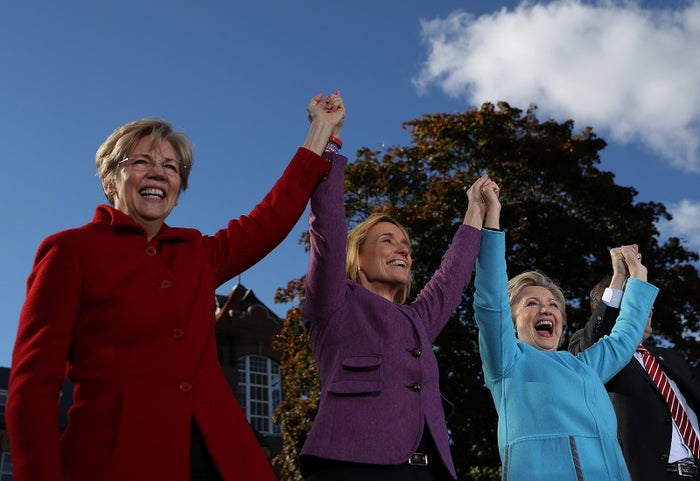 Sen. Elizabeth Warren and Hillary Clinton campaign with New Hampshire Senate candidate Maggie Hassan.