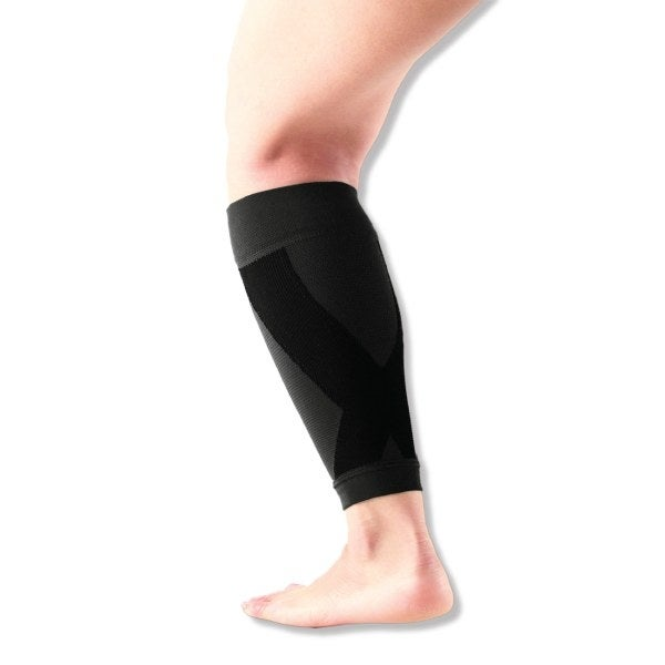 This patented revolutionary line of light-weight, thin, and flexible supports, which are based on therapeutic Kinesiology Taping Theory, provide comfort, support, joint protection, and compression for runners. The Power Gear Calf Support from Vantelin allows tendons and muscles to work in a more cohesive ways to prevent or reduce fatigue, soreness, or pain during and after exercise. The 3D circular knitting method and moisture-wicking material offer optimal compression and comfort, so you can wear it all day!