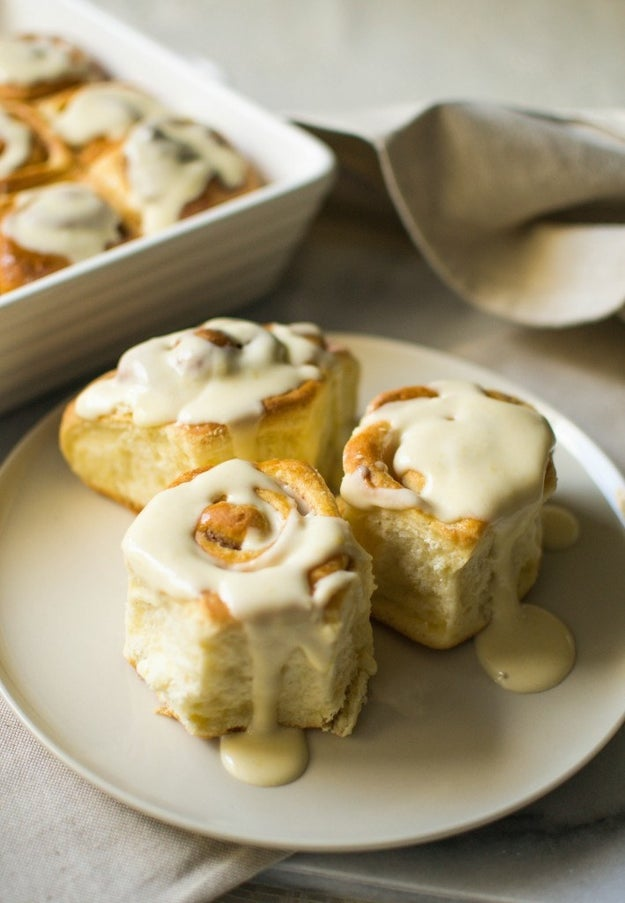 Cinnamon Rolls with Maple Cream Cheese Glaze