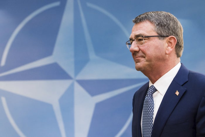 Ash Carter at NATO headquarters in Brussels on Wednesday.