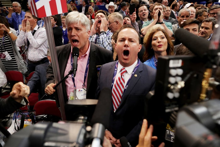 """Mike Lee shouting """"no"""" at the Republican National Convention in July."""