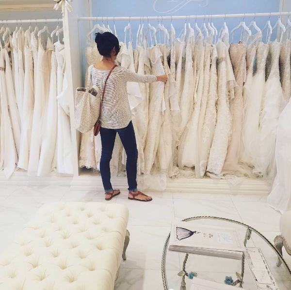 Sometimes it's easier to just go dress shopping alone.