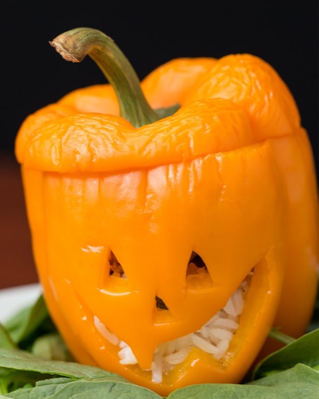 Jack O' Lantern Stuffed Peppers