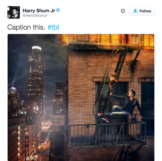 Harry Shum Jr. posted this photo himself hanging on a fire escape with a dog. ¯_(ツ)_/¯