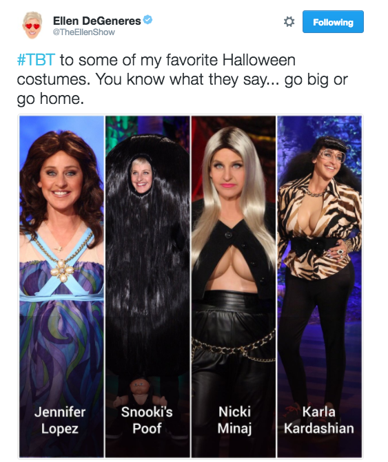 Ellen DeGeneres took a look back at her past Halloween costumes...