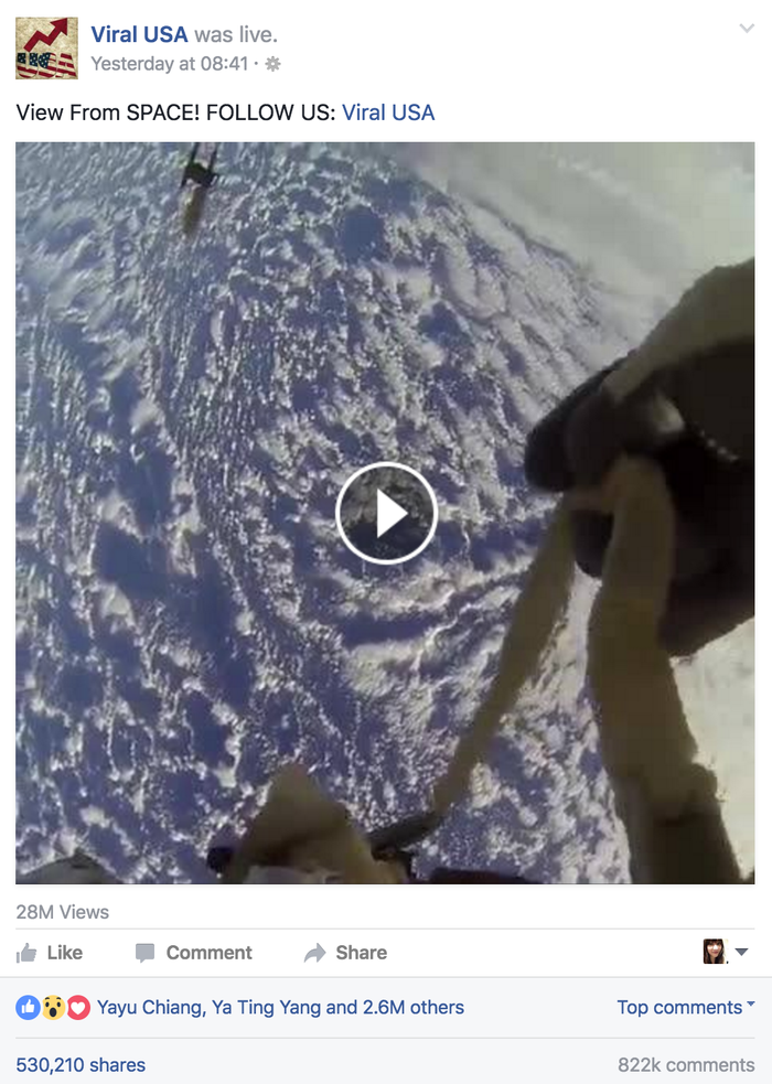 The most popular of these, Viral USA's livestream, racked up 28 million views and more than 530,000 shares.