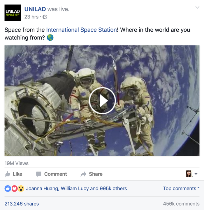 That video was viewed more than 19 million times and shared more than 213,000 times.