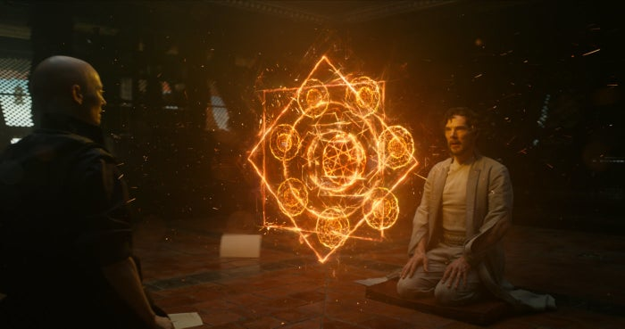 Tilda Swinton and Benedict Cumberbatch in Doctor Strange.