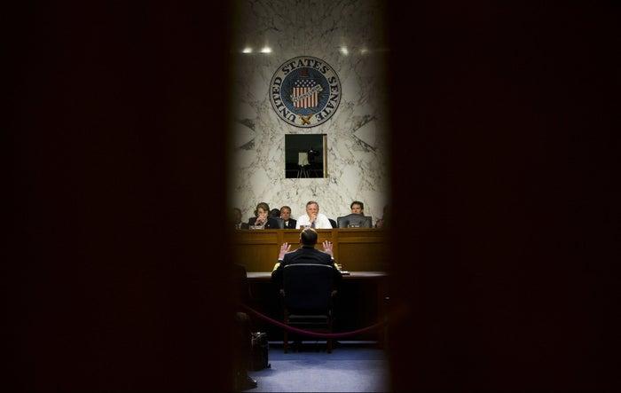 Richard Burr, R-N.C., center, presides over an open intelligence committee hearing. (AP Photo/Pablo Martinez Monsivais)