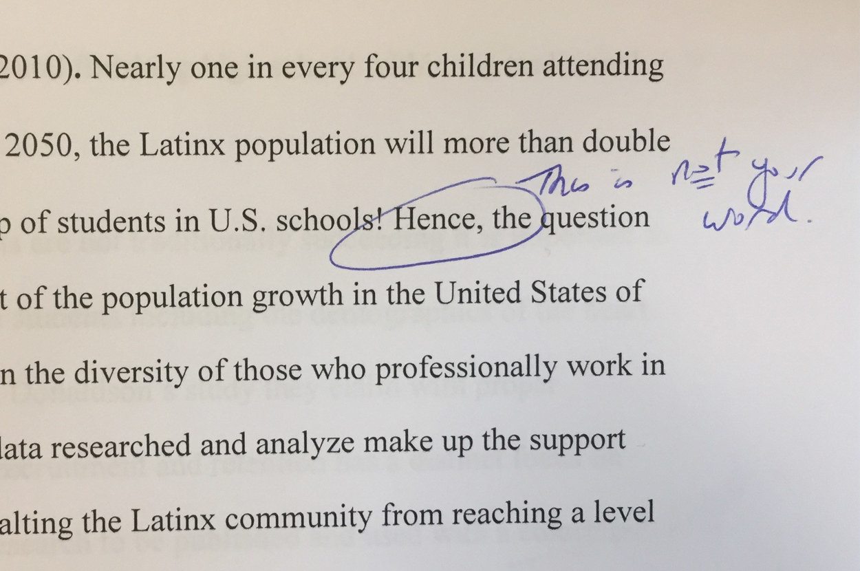 "a professor circled ""hence"" on a latina student s paper and wrote  share on facebook share"