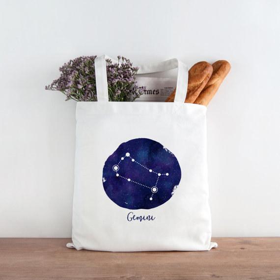 Gemini Printed Tote Bag
