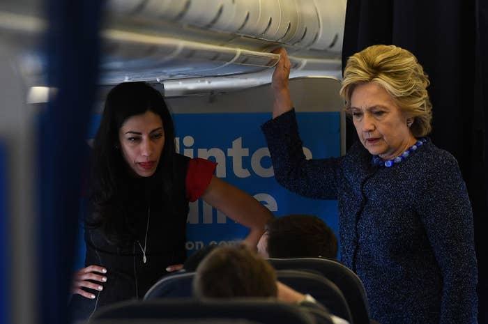 Hillary Clinton and aide Huma Abedin on Friday.
