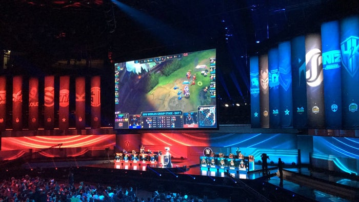 A League of Legends World Championship match in San Francisco.
