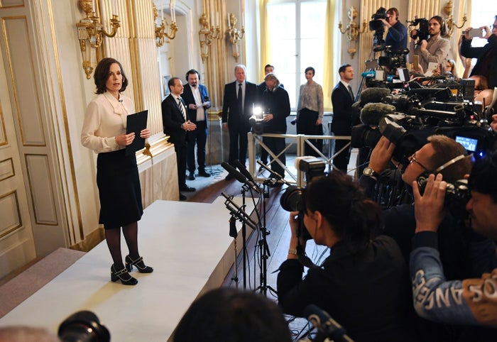 Permanent Secretary of the Swedish Academy Sara Danius announces that Bob Dylan is awarded the 2016 Nobel Prize in Literature.